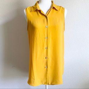 Rachel Zoe Yellow Button Down Sleeveless Top M